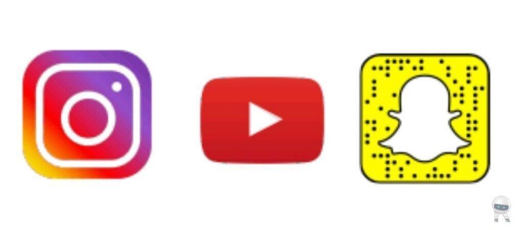 اینستاگرام، اسنپ چت، یوتیوب